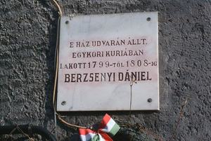 Memorial tablet on Berzsenyi Dániel's house site